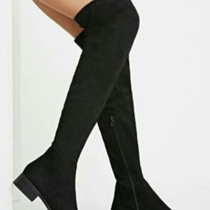 Black Suede Over the Knee Thigh High Boots